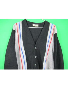 Vintage 60s Cardigan Sweater Rockabilly Striped Orlon Acrylic Mobster Grandpa by Unbranded