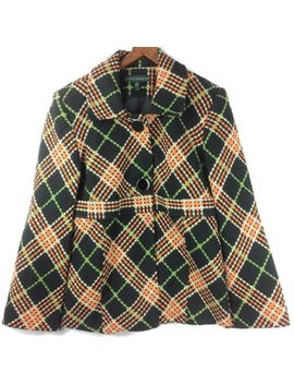 Harve Benard Ladie's Orange Black Green Plaid 2 Button Blazer Size 8 Long Sleeve by Harve Benard