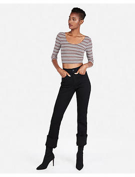 Express One Eleven Ribbed Three Quarter Sleeve Cropped Top by Express