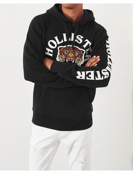 Leopard Applique Hoodie by Hollister