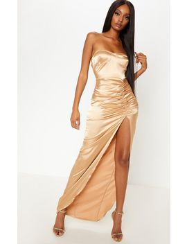 Gold Satin Cup Detail Ruched Split Leg Maxi Dress by Prettylittlething
