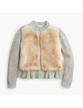 Girls' Fur Front Peplum Cardigan Sweater by J.Crew