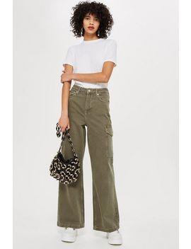 Khaki Wide Leg Jeans by Topshop