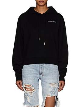 Logo Embroidered Cotton Crop Hoodie by Off White C/O Virgil Abloh