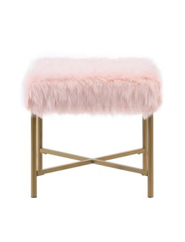 Home Pop Faux Fur Square Ottoman, Multiple Colors by Home Pop