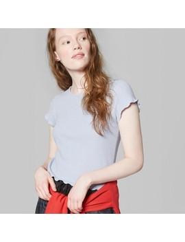Women's Short Sleeve Lettuce Edge Waffle Little T Shirt   Wild Fable™ Light Blue by Wild Fable™