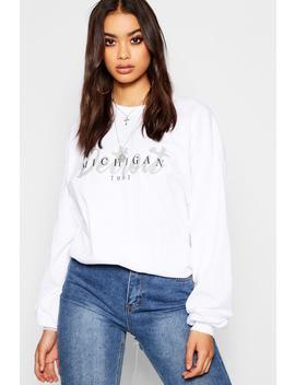 Long Sleeve Oversized Detroit Slogan T Shirt by Boohoo