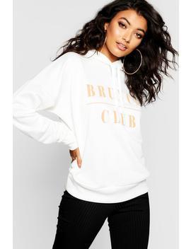 Brunch Club Slogan Hoody by Boohoo