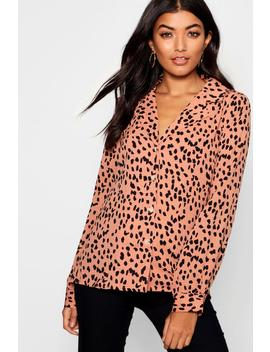 Button Through Collared Dalmatian Blouse by Boohoo