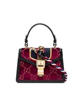 Multicoloured Sylvie Mini Logo Velvet And Leather Shoulder Bag by Gucci