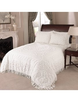 Medallion Chenille Bedspread Full White by Unbranded
