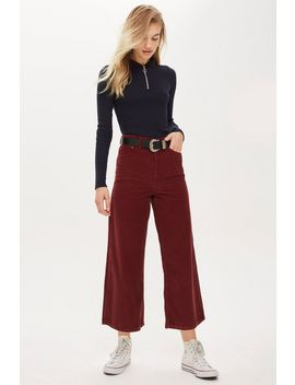 Plum Corduroy Cropped Wide Leg Jeans by Topshop