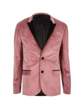 Pink Velvet Skinny Fit Long Sleeve Blazer by River Island