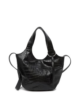 Small Finley Croc Embossed Leather Shopper by Elizabeth And James