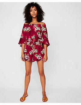 Floral Tie Front Off The Shoulder Romper by Express