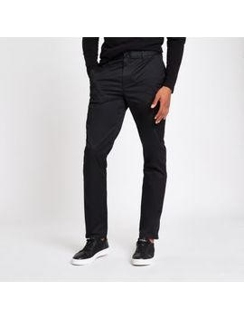 Black Slim Fit Chino Pants by River Island