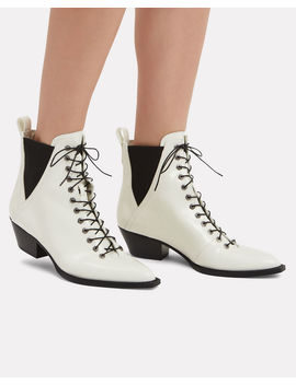 White Leather Booties by Coach