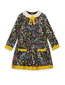 Little Girl's & Girl's Floral Print Silk A Line Dress by Gucci