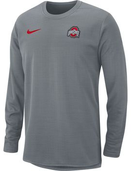 Nike Men's Ohio State Buckeyes Gray Modern Football Sideline Crew Long Sleeve Shirt by Nike