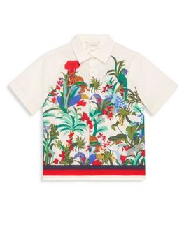 Boy's Floral Button Down Shirt by Gucci