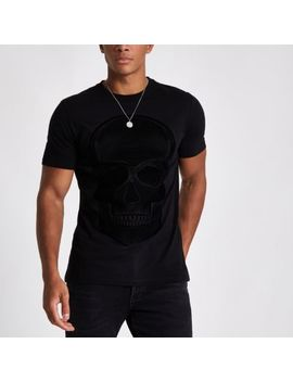 Black Skull Flock Print Slim Fit T Shirt by River Island