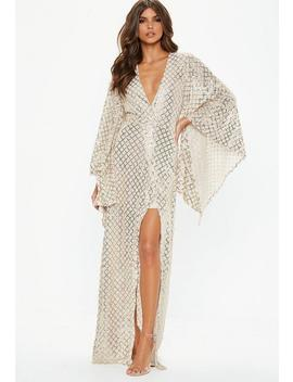 Gold Kimono Sequin Wrap Maxi Dress by Missguided