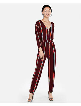 Stripe V Neck Zip Front Jumpsuit by Express