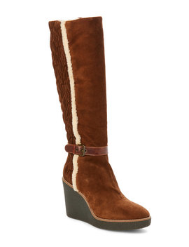 Chestnut Viviana Suede Weatherproof Wedge Boots by Aquatalia By Marvin K.