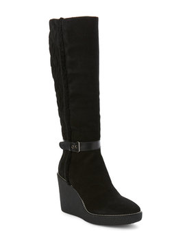 Black Viviana Suede Weatherproof Wedge Boots by Aquatalia By Marvin K.
