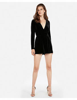 Long Sleeve Velvet Romper by Express