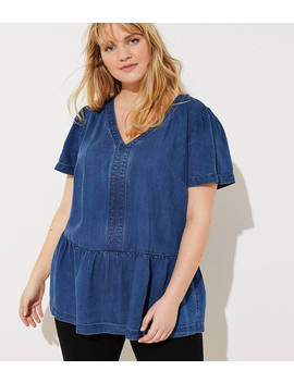Loft Plus Chambray Peplum Top by Loft