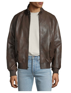 Men's Barracuda Leather Zip Front Jacket by Neiman Marcus