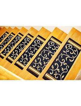 "Gloria Rug Skid Resistant Rubber Backing Gripper Non Slip Carpet Stair Treads   Washable Stair Mat Area Rug (Set Of 7), 8.5"" X 26"", Navy Blue Floral Design by Gloria Rug"