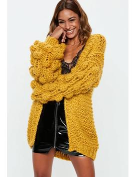 Mustard Bobble Sleeve Chunky Cardigan by Missguided