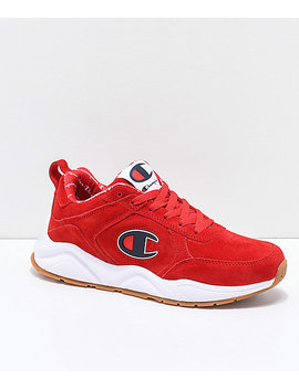 Champion 93 Eighteen Big C Scarlet & White Suede Shoes by Champion