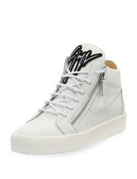 Men's Mid Top Sneaker With Varsity Felt Logo by Giuseppe Zanotti