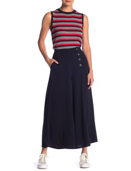 Side Button Wide Leg Pants by Elodie
