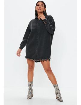 Black Oversized Denim Shirt Dress by Missguided
