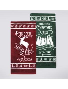 St. Nicholas Square® Reindeer & Hot Cocoa Kitchen Towel 2 Pack by St. Nicholas Square