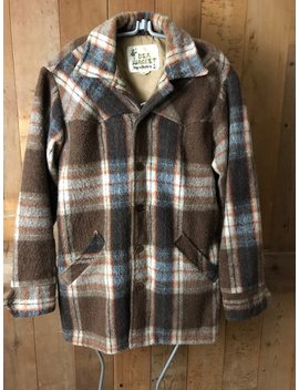Vintage 50's Dea Unisex Wool Shirt Vintage Mackinaw Mens Medium Plaid Wool Light Jacket Deacon Brothers Belleville Canada by Etsy