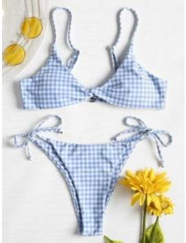 Twist Front Gingham String Bikini Set   Day Sky Blue S by Zaful