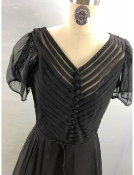 True Vintage 50s Sheer Black Nylon Full Skirt Short Sleeve Dress Frank Starr M/L by Frank Starr Fred Shore Original