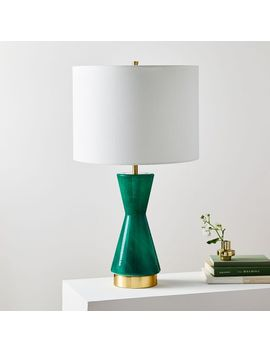 Metalized Glass Table Lamp + Usb   Large (Green) by West Elm
