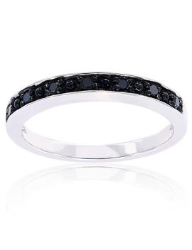 Miadora Sterling Silver Black Diamond Stackable Anniversary Wedding Band Ring by Miadora