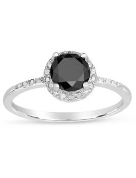 Finesque Sterling Silver 1/4 To 1ct Tdw Black Diamond Halo Ring by Finesque