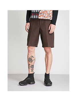 High Rise Wide Woven Shorts by Prada