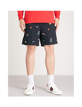 Embroidered Cotton Gabardine Shorts by Gucci