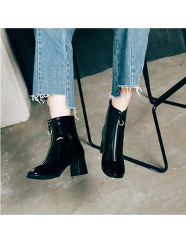 Front Zipper High Heel Martin Boots Women Square Toe Ankle Boots Women Thick Heel Winter Boots Women Shoes Swe0094 by Boussac