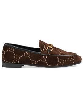 Brown Jordaan Gg Velvet Loafers by Gucci