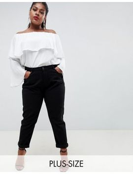 Boohoo Plus High Waist Mom Jeans In Black by Boohoo